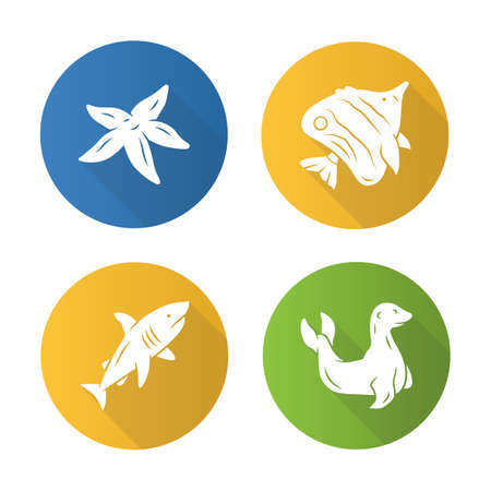 Sea animals flat design long shadow glyph icons set. tarfish, butterflyfish, shark, seal. Ocean underwater wildlife. Aquatic fish species. Undersea world. Oceanography. Vector silhouette illustration