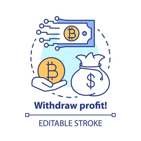 Withdraw profit concept icon. Money transfer idea thin line illustration. Online banking. Deposit withdrawal. Digital payment from crypto wallet. Vector isolated outline drawing. Editable stroke