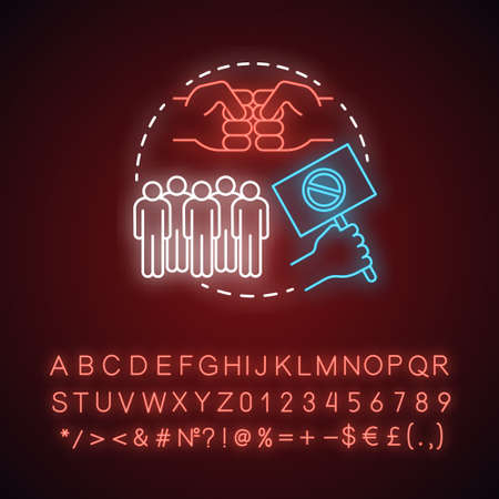 Counter protest neon light concept icon. Public disagreement manifestation idea. Glowing sign with alphabet, numbers and symbols. Hand holding placard, fists and crowd vector isolated illustration