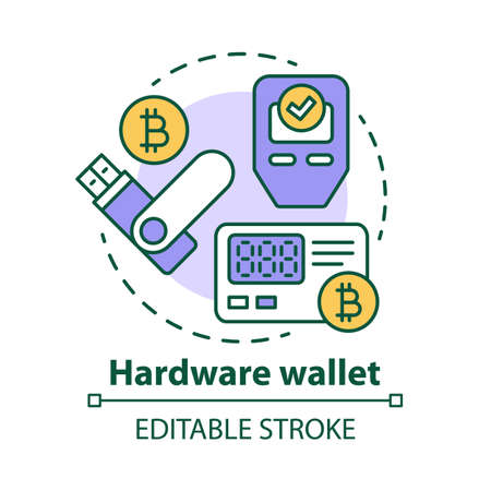 Hardware wallet concept icon. Storing private keys in storage device idea thin line illustration. Making online transaction. Bitcoin wallet. Vector isolated outline drawing. Editable stroke
