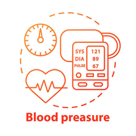 Blood pressure control concept icon. Heart functioning monitoring idea thin line illustration. Systolic and diastolic pressure rate. Vector isolated outline drawing. Editable stroke Ilustrace