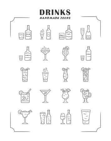 Ensemble d'icônes linéaires de boissons. Carte de menu d'alcool. Boissons pour cocktails. Whisky, rhum, vin, martini, margarita, absinthe. Liqueurs. Symboles de contour de ligne mince. Illustrations de contour de vecteur isolé