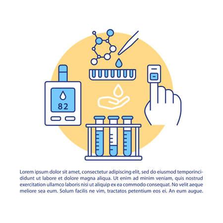 Blood sugar test article page vector template. Diabetic patients healthcare. Brochure, magazine, booklet design element, linear icons, text box. Print design. Concept illustrations with text space Ilustração