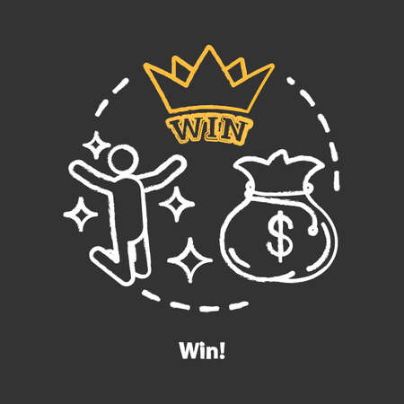 Win chalk concept icon. Jackpot, success idea. Lottery, casino victory. Winner, champion. Sack of money prize. Good luck & fortune. Vector isolated chalkboard illustration 写真素材 - 129943137