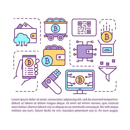 Cryptocurrency wallet article page vector template. Crypto mining farm and blockchain platform. Brochure, magazine, booklet design element with linear icons, text. Print design. Concept illustrations