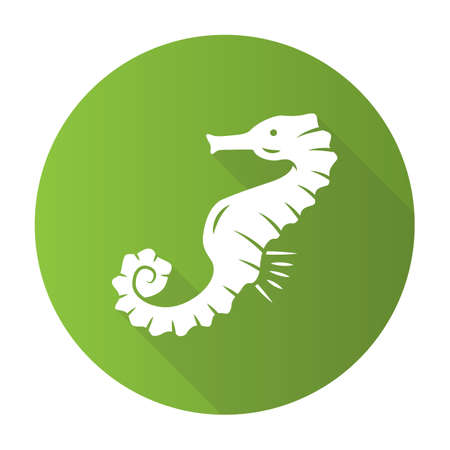 Seahorse green flat design long shadow glyph icon. Exotic marine fish. Aquatic creature with horse shape body. Aquarium animal. Swimming underwater organism. Vector silhouette illustration