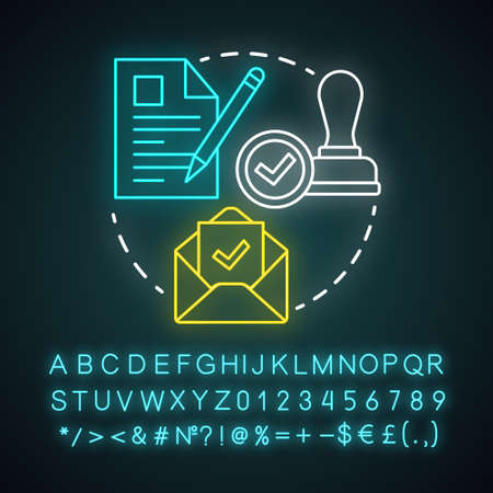 Acquiring permits neon light concept icon. Obtaining license idea. Getting approval. Legal documents and permissions. Formal application. Glowing alphabet, numbers and symbols. Vector illustration