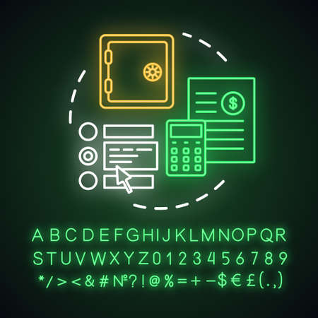 Choose deposit neon light concept icon. Savings idea. Investment contract. Choosing financial plan. Glowing sign with alphabet, numbers and symbols. Vector isolated illustration