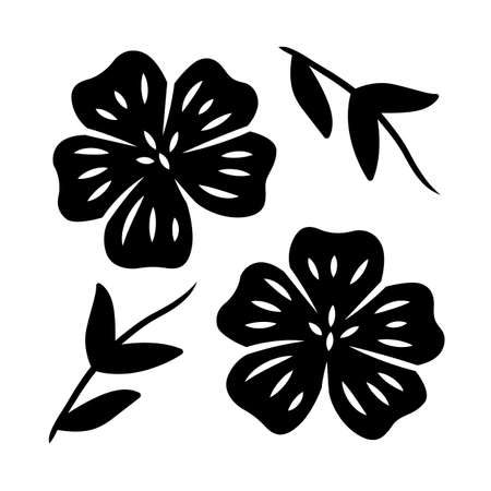 Blue flax plant glyph icon. Linen wild flower. Spring blossom. Blooming linum wildflower. Silhouette symbol. Negative space. Vector isolated illustration