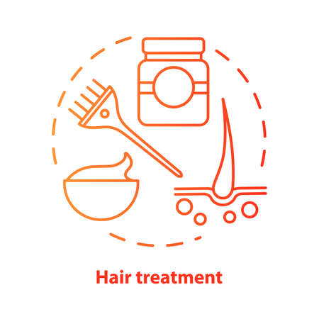 Hair treatment blue concept icon. Hair care and cosmetology procedure idea thin line illustration. Hairdresser salon, hairstylist parlor. Red gradient vector isolated outline drawing. Editable stroke Illustration