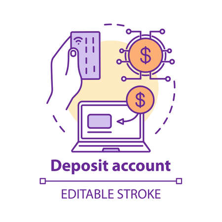 Deposit account concept icon. Savings idea thin line illustration. Banking plan, agreement management. Online payment and accounting system. Vector isolated outline drawing. Editable stroke