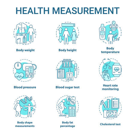 Body measurement devices concept icons set. Body weight, height control idea thin line illustrations. Checking fat percentage, heart pressure rate. Vector isolated outline drawings. Editable stroke