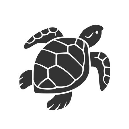 Icono de glifo de tortuga. Reptil de movimiento lento con caparazón escamoso. Animal acuático submarino. Criatura del océano nadando. Oceanografía. Fauna marina. Símbolo de silueta. Espacio negativo. Vector ilustración aislada Ilustración de vector