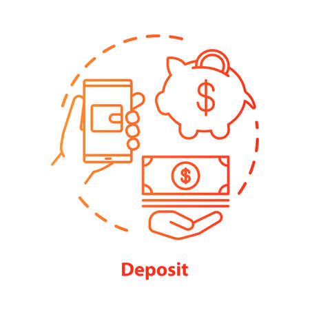 Deposit concept icon. Savings & investments. Casino deposit bonus idea thin line illustration. Digital wallet payment. Cash back and piggy bank. Vector isolated outline drawing