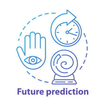 Future prediction concept icon. Fortune telling, oracle service. Divination, esoterics and occultism idea thin line illustration. Crystal ball, palm with eye and clock vector isolated outline drawing Stock Illustratie