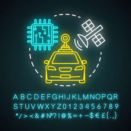 Self-driving car neon light concept icon. Driverless automobile. Auto, microchip, satellite. Autonomous vehicle idea. Glowing sign with alphabet, numbers and symbols. Vector isolated illustration Stock Illustratie
