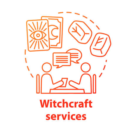 Witchcraft services concept icon. Fortune telling and divination idea thin line illustration. Future prediction. Rune stones, oracle with client and tarot cards vector isolated outline drawing Stock Illustratie