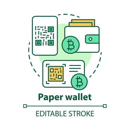 Paper wallet concept icon. Bitcoins offline storage idea thin line illustration. Copying QR code, printing private key on paper. Money transaction. Vector isolated outline drawing. Editable stroke