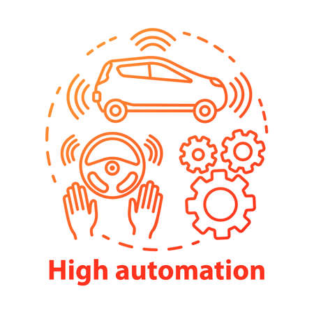 High automation concept icon. Car with autonomous features. Steering Assist. Autopilot system. Driverless vehicle idea thin line illustration. Vector isolated outline drawing. Editable stroke