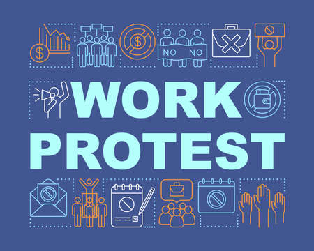 Work protest word concepts banner. Union strike presentation, website. Isolated lettering typography idea with linear icons. Government manifestation. Public demonstration vector outline illustration 向量圖像