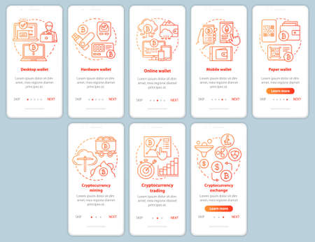 Cryptocurrency mining onboarding mobile app page screen with linear concepts. Electronic bitcoin currency wallet walkthrough red steps graphic instructions. UX, UI, GUI template with illustrations