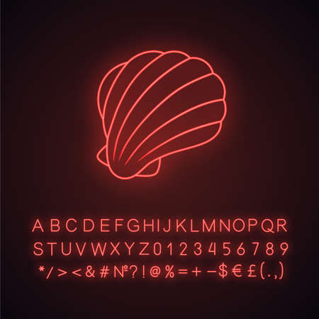 Sea shell neon light icon. Marine mollusk shell. Protective layer for animal living. Tropical souvenir. Underwater fauna. Glowing sign with alphabet, numbers and symbols. Vector isolated illustration Banco de Imagens - 129943564