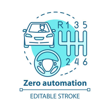 Zero automation concept icon. Car with manual transmission. Vehicle, gearbox, steering wheel. Driving school idea thin line illustration. Vector isolated outline drawing. Editable stroke Illustration