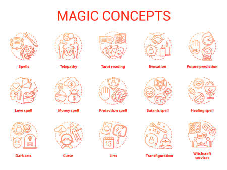 Magic concept icons set. Occultism, sorcery and witchcraft idea thin line illustrations. Various spells and alchemy potions. Fortune telling and tarot reading service. Vector isolated outline drawings