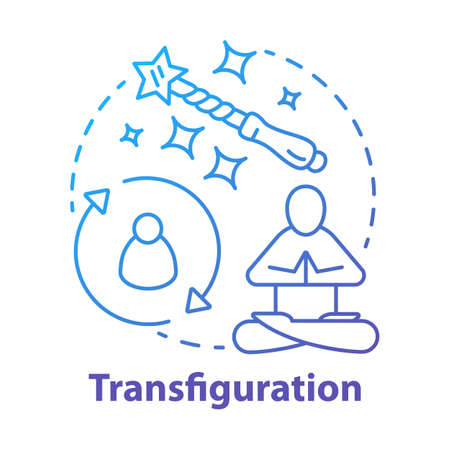 Transfiguration concept icon. Wizardry and witchcraft idea thin line illustration. Appearance alteration, transformation spell. Wizard wand and meditating monk vector isolated outline drawing
