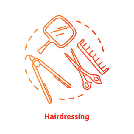 Hairdressing blue concept icon. Hairdresser salon professional equipment idea thin line illustration. Scissors, straightening iron. Red gradient vector isolated outline drawing. Editable stroke