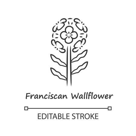 Franciscan wallflower linear icon. Garden flowering plant with name inscription. Erysimum franciscanum inflorescence. Thin line illustration. Contour symbol. Vector isolated drawing. Editable stroke Ilustração