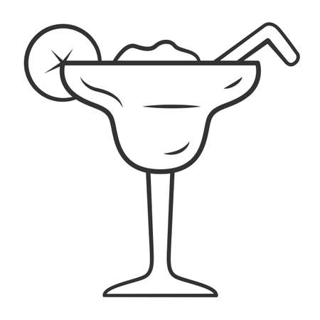 Margarita linear icon. Footed glass with icy drink, lemon slice, straw. Cocktail with tequila, liqueur, lime juice. Thin line illustration. Contour symbol. Vector isolated outline drawing