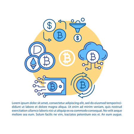 Cryptocurrency transaction article page vector template. Crypto cloud mining and exchange platform. Brochure, magazine, booklet design with linear icons and text. Print design. Concept illustrations