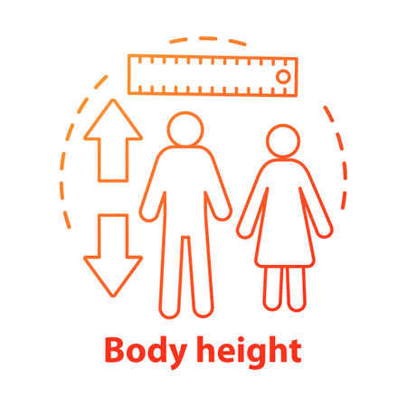 Body height monitoring concept icon. Checking body growth with measuring tools idea thin line illustration. Controlling male, female height. Vector isolated outline drawing. Editable stroke