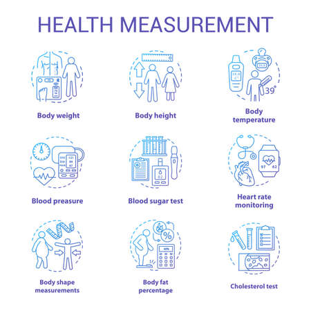 Body measurement tools concept icons set. Body weight, height control idea thin line illustrations. Checking cardiological parameters, heart rate. Vector isolated outline drawings. Editable stroke Ilustracja