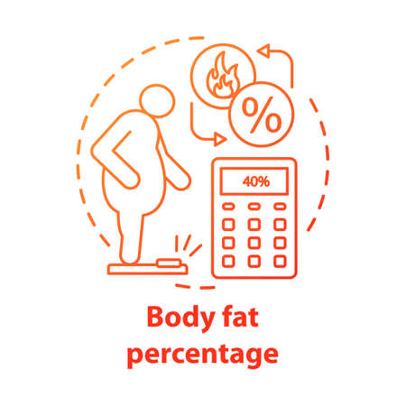Body fat percentage control concept icon. Patient with extraweight idea thin line illustration. Person suffering from obesity. Calculating fat percent. Vector isolated outline drawing. Editable stroke
