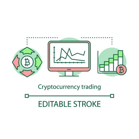 Cryptocurrency trading concept icon. Buying and selling bitcoins idea thin line illustration. Blockchain technology. Stock market analyzing. Vector isolated outline drawing. Editable stroke