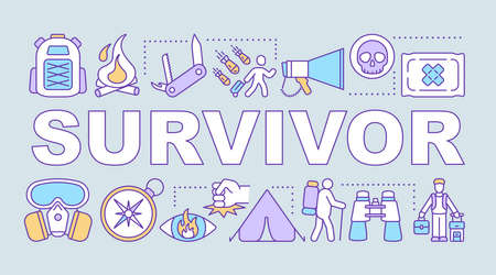 Survivor word concepts banner. Travelling in extreme conditions. Adventurous trekking. Presentation, website. Isolated lettering typography idea with linear icons. Vector outline illustration