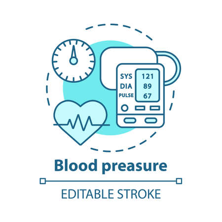 Blood pressure control device concept icon. Heart condition monitoring idea thin line illustration. Electronic manometer with display. Vector isolated outline drawing. Editable stroke