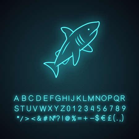 Shark neon light icon. Dangerous ocean predator. Swimming fish. Underwater aquatic animal, ocean wildlife. Marine fauna. Glowing sign with alphabet, numbers, symbols. Vector isolated illustration Stock Vector - 129943649