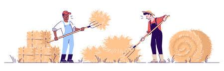 Les agriculteurs empilent le foin avec le caractère vectoriel plat de la fourche. Concept de récolte d'automne avec contour. Ouvrier agricole afro-américain faisant des balles de foin. Travaux agricoles. Illustration de dessin animé de récolte de foin