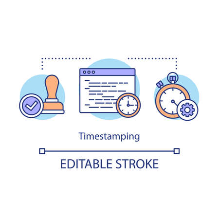 Timestamping concept icon. Network management idea thin line illustration. Electronic timestamp for order monitoring. Stopwatch and stamp. Vector isolated outline drawing. Editable stroke