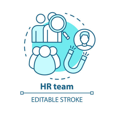 HR team concept icon. Employment service, recruitment idea thin line illustration. Staff search and human resources management. Candidate sourcing. Vector isolated outline drawing. Editable stroke Ilustracja