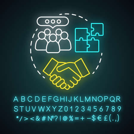 Team building event neon light concept icon. Corporate collaboration activities idea. Teamwork and successful partnership. Employees cooperation. Glowing alphabet, number. Vector isolated illustration Illustration