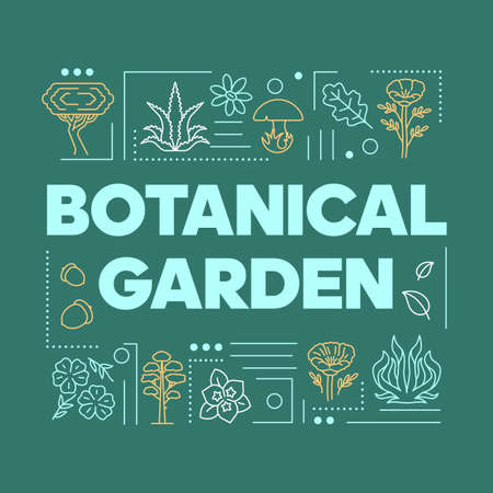 Botanical garden word concepts banner. Plants species. Flowers and trees diversity. Presentation, website. Isolated lettering typography idea with linear icons. Vector outline illustration