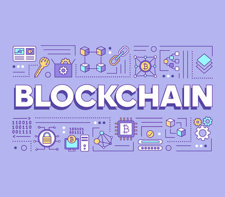 Blockchain technology word concepts banner. Virtual currency mining. Cryptocurrency server. Presentation, website. Isolated lettering typography idea with linear icons. Vector outline illustration