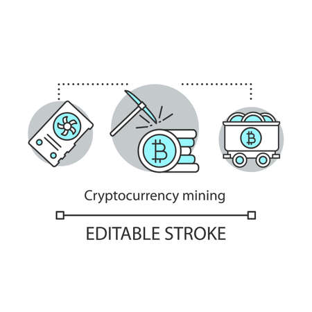 Cryptocurrency mining concept icon. Bitcoin obtaining idea thin line illustration. Financial transaction validation. Electronic money. Vector isolated outline drawing. Editable stroke Ilustracja