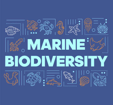 Marine biodiversity word concepts banner. Oceanarium wild animals diversity. Fish species. Presentation, website. Isolated lettering typography idea with linear icons. Vector outline illustration
