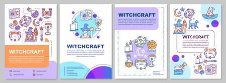 Witchcraft brochure template layout. Alchemy and occultism flyer, booklet, leaflet print design with linear illustrations. Vector page layouts for magazines, annual reports, advertising posters Stock Illustratie