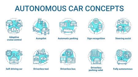 Jeu d'icônes de concept de voiture autonome. Fonctionnalités robotiques de voiture. Véhicules sans chauffeur. La technologie électronique dans les illustrations de lignes fines d'idées de conduite sûre. Dessins de contour isolés de vecteur. Trait modifiable Vecteurs